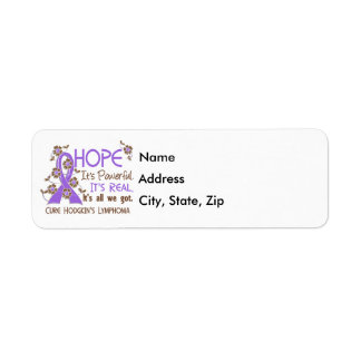 Hope Flower Ribbon Hodgkin's Lymphoma Disease Label
