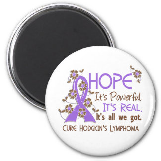 Hope Flower Ribbon Hodgkin's Lymphoma 2 Inch Round Magnet