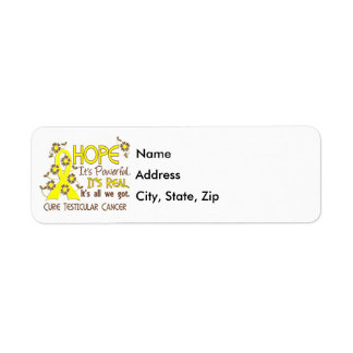 Hope Flower Ribbon Testicular Cancer Label