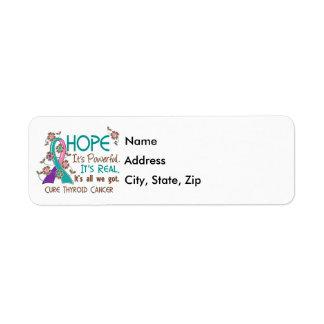 Hope Flower Ribbon Thyroid Cancer Label