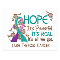 Hope Flower Ribbon Thyroid Cancer Postcard
