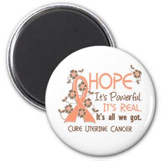 Hope Flower Ribbon Uterine Cancer 2 Inch Round Magnet