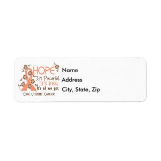 Hope Flower Ribbon Uterine Cancer Label