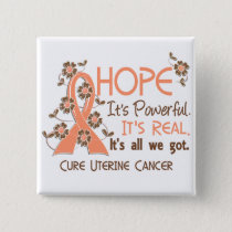 Hope Flower Ribbon Uterine Cancer Pinback Button