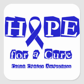 Hope for a Cure - Blue Ribbon Square Sticker