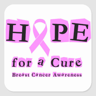 Hope for a Cure - Breast Cancer Pink Ribbon Square Sticker