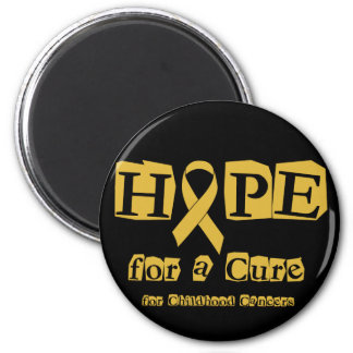 Hope for a Cure - Childhood Cancer Gold Ribbon 2 Inch Round Magnet