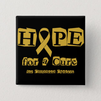 Hope for a Cure - Childhood Cancer Gold Ribbon Button