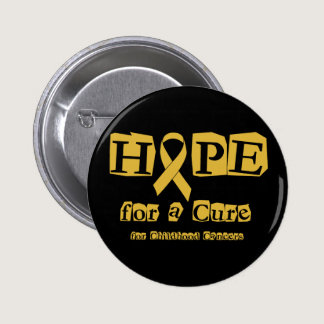 Hope for a Cure - Childhood Cancer Gold Ribbon Pinback Button