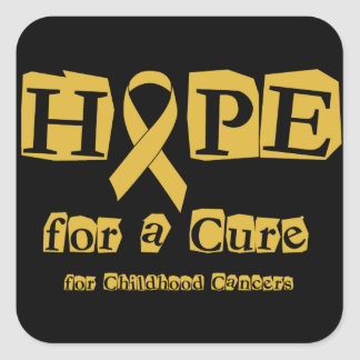 Hope for a Cure - Childhood Cancer Gold Ribbon Square Sticker