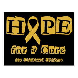 Hope for a Cure - Gold Ribbon Postcard