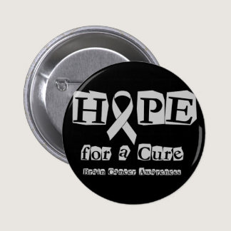 Hope for a Cure - Grey Ribbon Brain Tumor / Cancer Pinback Button