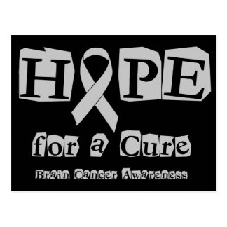 Hope for a Cure - Grey Ribbon Brain Tumor / Cancer Postcard