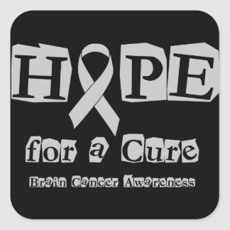 Hope for a Cure - Grey Ribbon Brain Tumor / Cancer Square Sticker