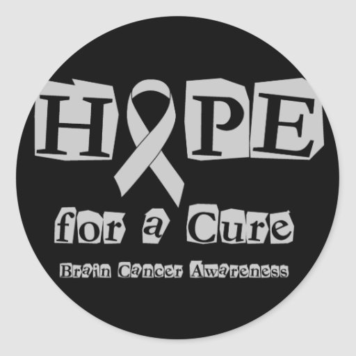 Hope for a Cure - Grey Ribbon Round Sticker