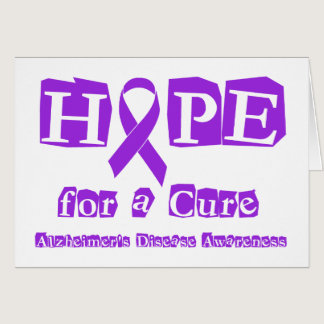 Hope for a Cure Purple Ribbon Alzheimers Disease Card