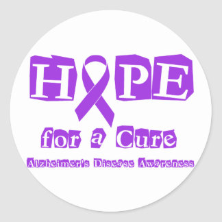 Hope for a Cure Purple Ribbon Alzheimers Disease Classic Round Sticker