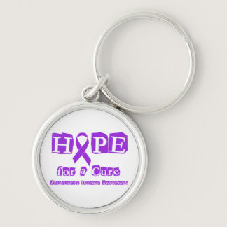 Hope for a Cure Purple Ribbon Alzheimers Disease Keychain
