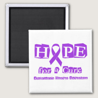 Hope for a Cure Purple Ribbon Alzheimers Disease Magnet