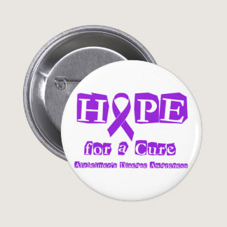 Hope for a Cure Purple Ribbon Alzheimers Disease Pinback Button