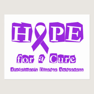 Hope for a Cure Purple Ribbon Alzheimers Disease Postcard