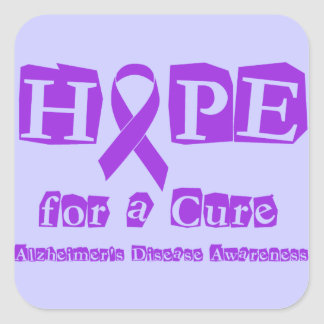 Hope for a Cure Purple Ribbon Alzheimers Disease Square Sticker