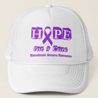 Hope for a Cure Purple Ribbon Alzheimers Disease Trucker Hat