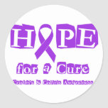 Hope for a Cure - Purple Ribbon Classic Round Sticker