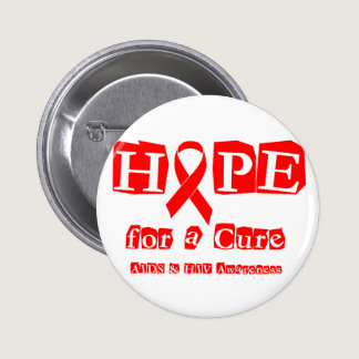 Hope for a Cure - Red Ribbon AIDS & HIV Button