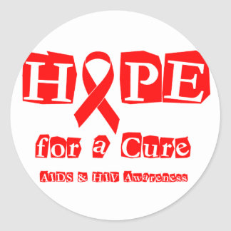 Hope for a Cure - Red Ribbon AIDS & HIV Classic Round Sticker