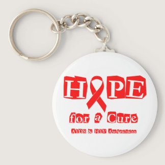 Hope for a Cure - Red Ribbon AIDS & HIV Keychain