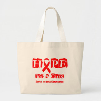 Hope for a Cure - Red Ribbon AIDS & HIV Large Tote Bag