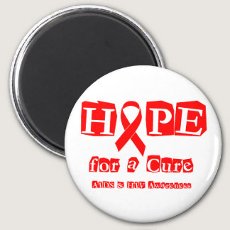 Hope for a Cure - Red Ribbon AIDS & HIV Magnet