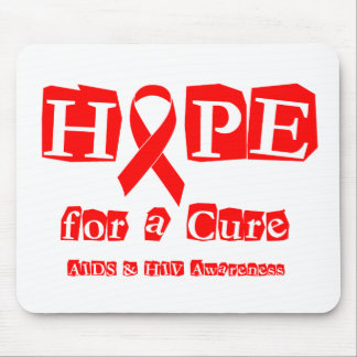 Hope for a Cure - Red Ribbon AIDS & HIV Mouse Pad