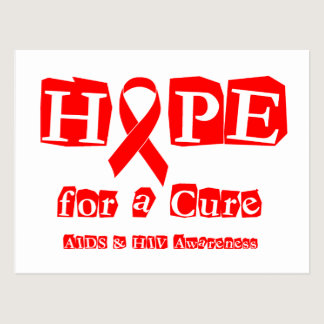 Hope for a Cure - Red Ribbon AIDS & HIV Postcard