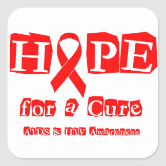 Hope for a Cure - Red Ribbon AIDS & HIV Square Sticker