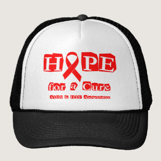Hope for a Cure - Red Ribbon AIDS & HIV Trucker Hat