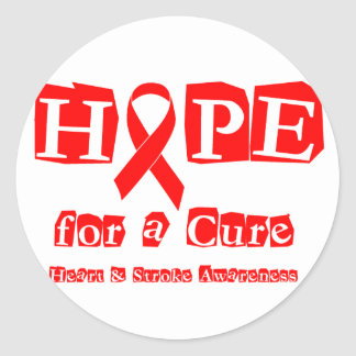 Hope for a Cure - Red Ribbon Classic Round Sticker