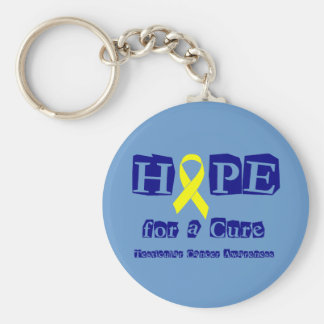 Hope for a Cure - Yellow Ribbon Basic Round Button Keychain