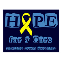 Hope for a Cure - Yellow Ribbon Postcard
