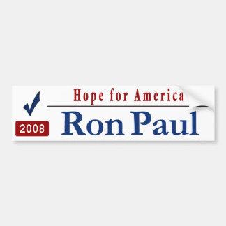 Hope for America -vote Ron Paul Car Bumper Sticker