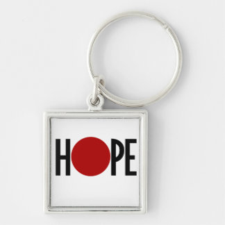 Hope for Japan Silver-Colored Square Keychain