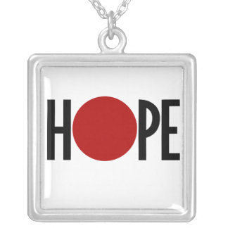 Hope for Japan Square Pendant Necklace