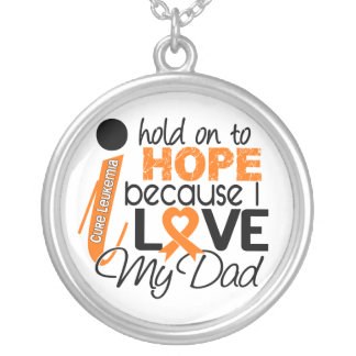 Hope For My Dad Leukemia Round Pendant Necklace