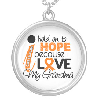 Hope For My Grandma Leukemia Round Pendant Necklace