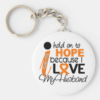 Hope For My Husband Multiple Sclerosis MS Basic Round Button Keychain