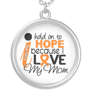 Hope For My Mom Multiple Sclerosis MS Silver Plated Necklace
