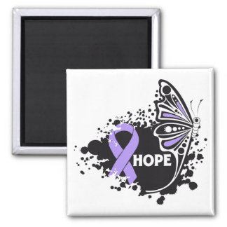 Hope General Cancer Butterfly 2 Inch Square Magnet