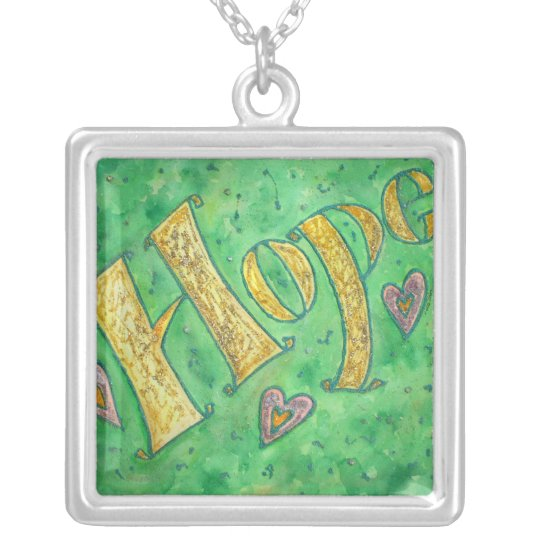 Hope Glitter Word Art Silver Necklace Charm