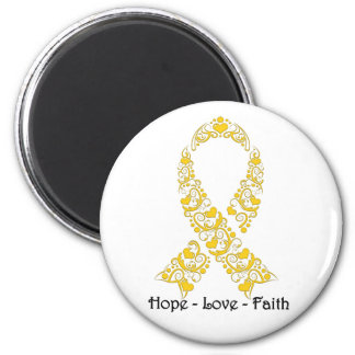 Hope Gold Awareness Ribbon 2 Inch Round Magnet
